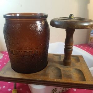 Vintage Wood Pipe Stand Tobacco Amber Glass Dunn R